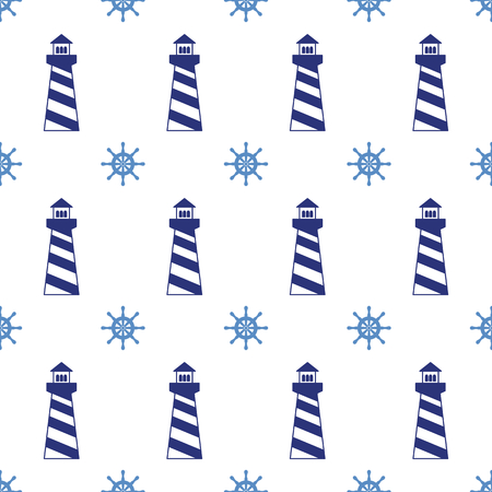 Seamless pattern with lighthouses and wheels. Can be used for wallpapers, web page backgrounds. Vector illustration