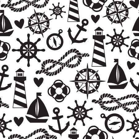 knot: Vector seamless pattern with sea elements: lighthouses, ships, anchors. Can be used for wallpapers, web page backgrounds