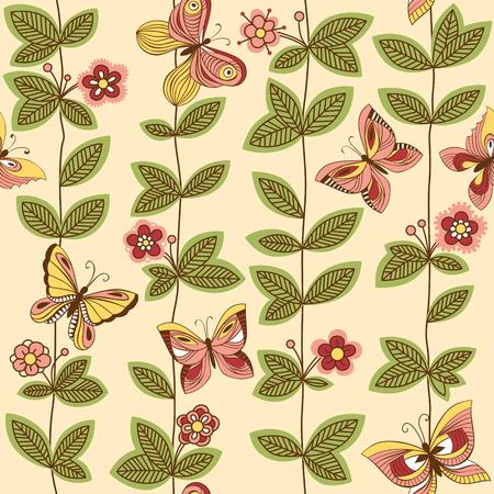 Vector il modello senza cuciture con le farfalle che volano intorno ai fiori