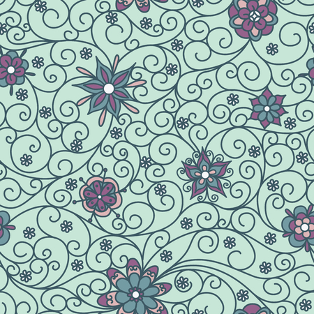 wispy: Vector seamless pattern with flowers Illustration