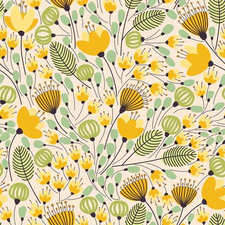 꽃과 우아한 원활한 패턴, 벡터 일러스트 레이 션 일러스트