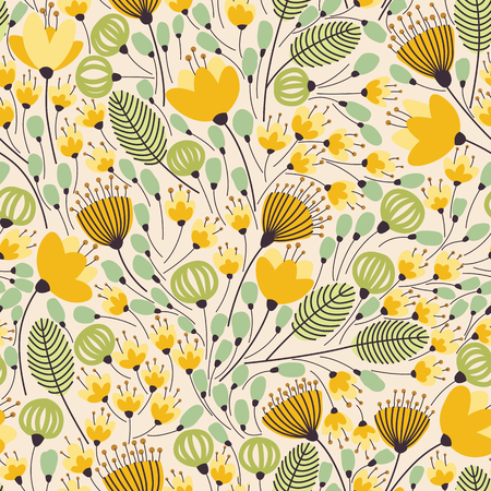 Elegant seamless pattern with flowers, vector illustration Çizim