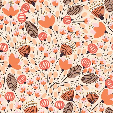 꽃, 벡터 일러스트와 함께 우아한 원활한 패턴