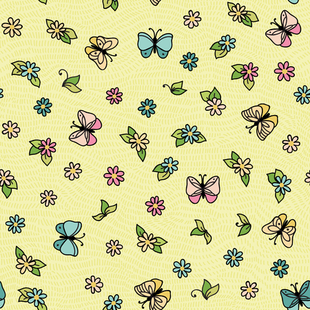 mariposas volando: Vector seamless pattern with butterflies flying over the flowers. Vectores