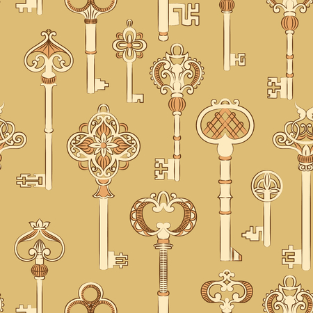 antique wallpaper: Seamless pattern with antique keys