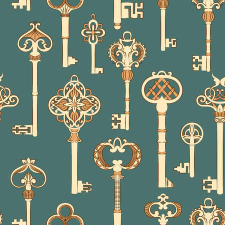 pattern seamless: Seamless pattern with antique keys