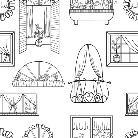 chapel: Seamless pattern with different windows.