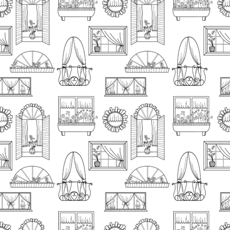 balcony: Seamless pattern with different windows.