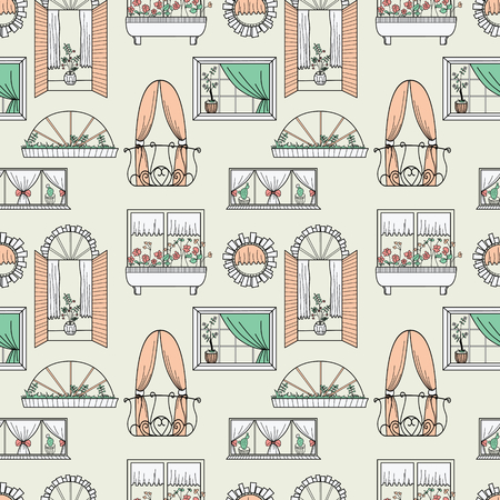 panes: Seamless pattern with different windows.