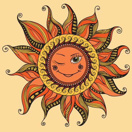 smiling sun: Vector illustration with smiling sun Illustration