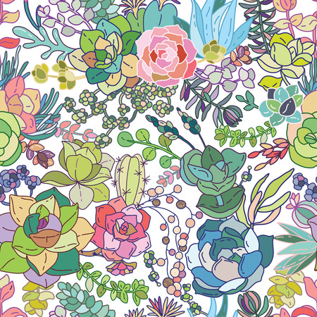 Succulent seamless pattern background