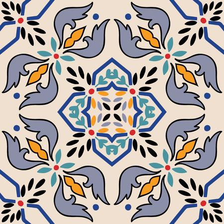 tiles floor: Vector beautiful seamless ornamental tile background.
