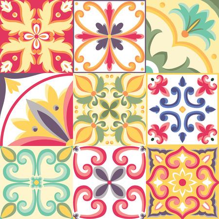 イタリアン スタイルのシームレスなパターン。明るいベクトルの背景
