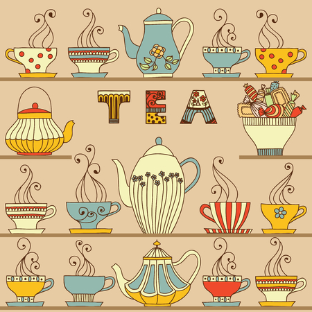 red cup: Vector seamless pattern with cups and teapots.