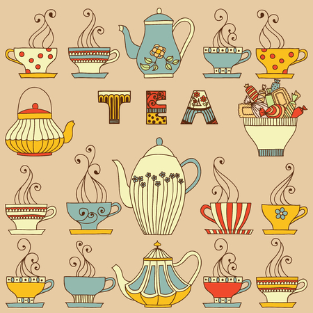 domestic kitchen: Vector seamless pattern with cups and teapots.