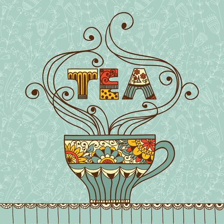 tarde de cafe: Ilustración del vector con una taza de té o café aromático y lugar para el texto.