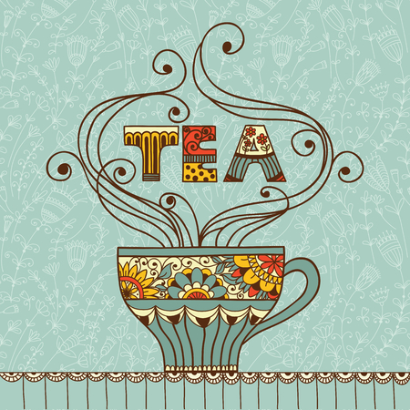 green tea leaf: Vector illustration with a cup of aromatic tea or coffee and place for your text.