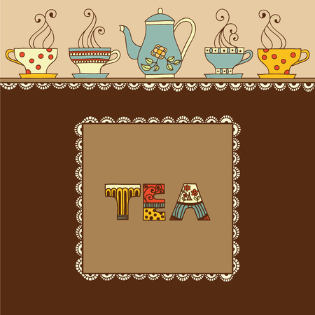 aromatic: Vector illustration with a cup of aromatic tea or coffee and place for your text.