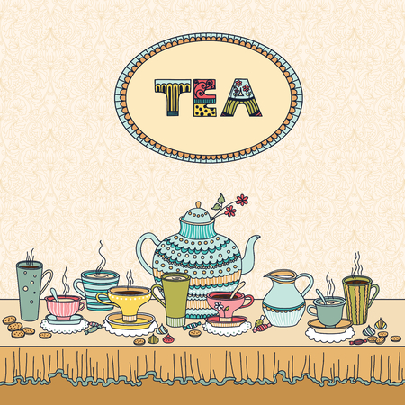 Tea time. Vector illustration with a cups, teapot, candy and candle