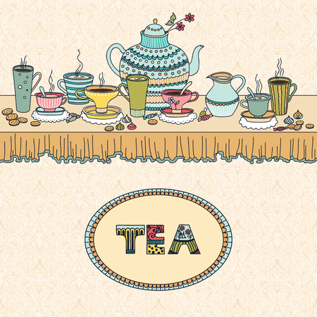 coffee and cake: Tea time. Vector illustration with a cups, teapot, candy and candle