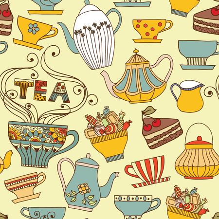 drinks party: Vector seamless pattern with cups and teapots.