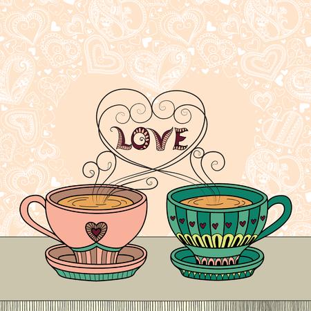 향기로운 차 또는 커피 한잔과 텍스트 장소 벡터 일러스트 레이 션.
