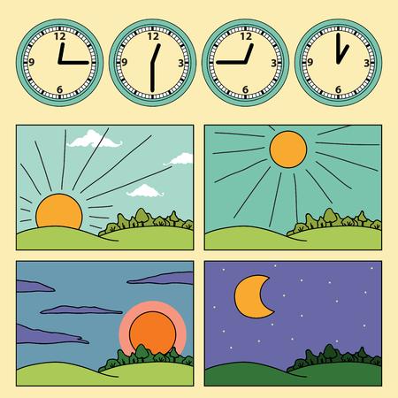 contras con paisajes que muestran el ciclo diurno y el reloj que muestra la hora del día - por la mañana, mediodía, tarde, noche