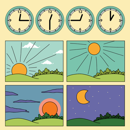 cons with landscapes showing day cycle and clock showing the time of the day - morning, noon, afternoon, evening Vectores