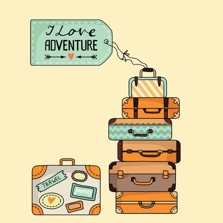 スーツケースのスタック。ベクトル図  イラスト・ベクター素材