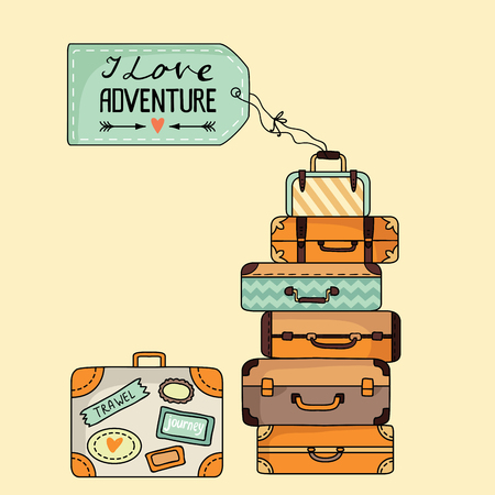 Stack of suitcases. Vector illustration