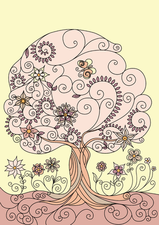 flowering: Illustration with a flowering tree Illustration