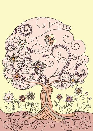 Illustrazione con un albero di fioritura Vettoriali