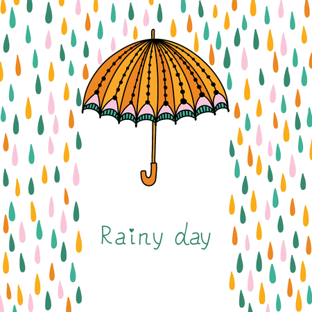 torrential rain: Vector illustration with clouds, rain and umbrella. Illustration
