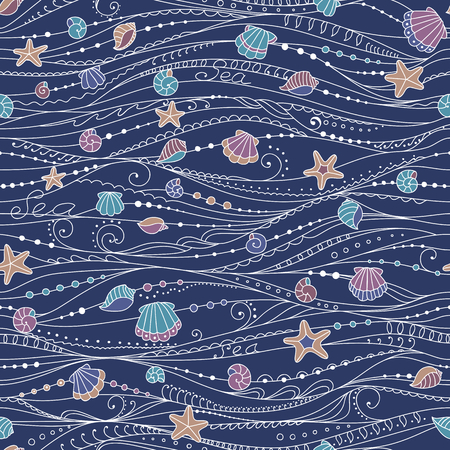 Vector seamless abstract pattern with waves and shells of the sea. Can be used for desktop wallpaper or frame for a wall hanging or poster, surface textures, web page backgrounds, textile and more.