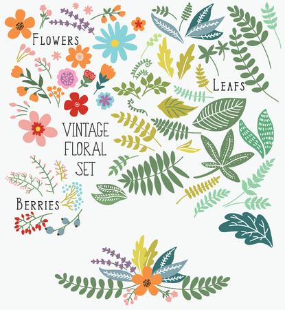 Hand gezeichnet Jahrgang florale Elemente. Satz von Blumen. Sie können Ihre Jahrgang Blumen Blumenstrauß