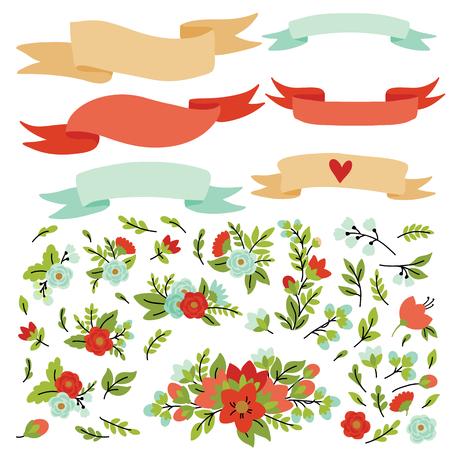 Hand Drawn vintage floral elements. Set of flowers. You can make your vintage floral bouquet