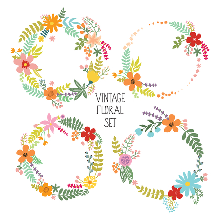 un used: Floral Frame Collection. Set of vintage flowers arranged un a shape of the wreath. Can be used for wedding invitations and birthday cards