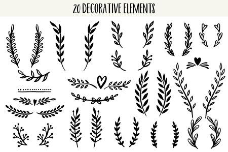 El conjunto de dibujado a mano vector circular de elementos decorativos para su diseño. Hojas, remolinos, elementos florales. Ilustración de vector