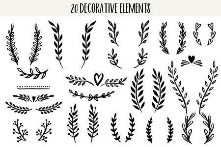 Zestaw ręcznie rysowane wektor okrągłe elementy dekoracyjne dla swojego projektu. Liście, wiruje, elementy kwiatowe. Ilustracje wektorowe