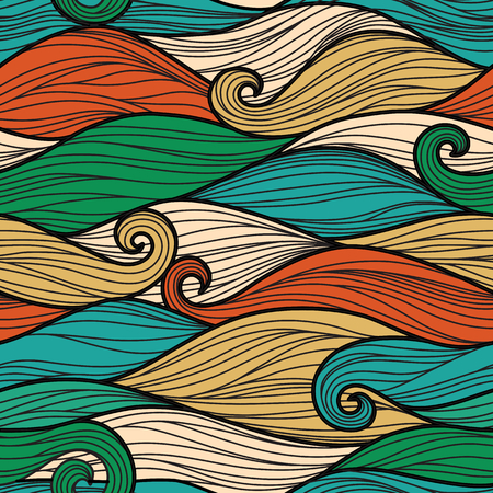 Vector seamless pattern with abstract waves Иллюстрация