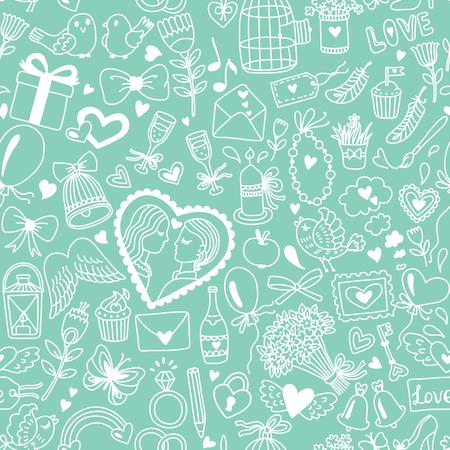 漫画のスタイルでロマンチックなシームレス パターン。結婚式やバレンタインの日のイラスト