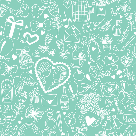 Romantic seamless pattern in cartoon style. Wedding or Valentines Day illustration Ilustrace