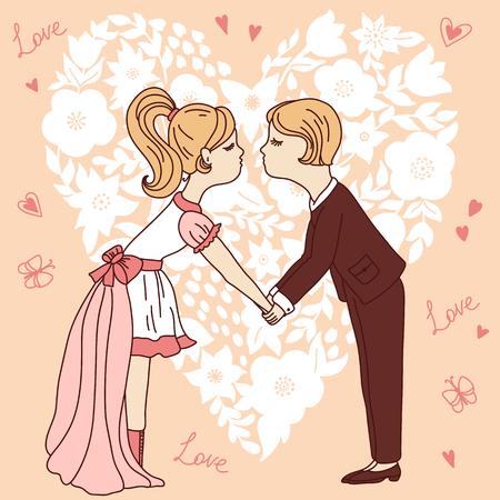 wedding dress silhouette: Cartoon couple on heart shape background. Valentine card