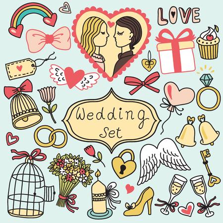 conjunto de vectores romántica en estilo de dibujos animados. colección de la boda