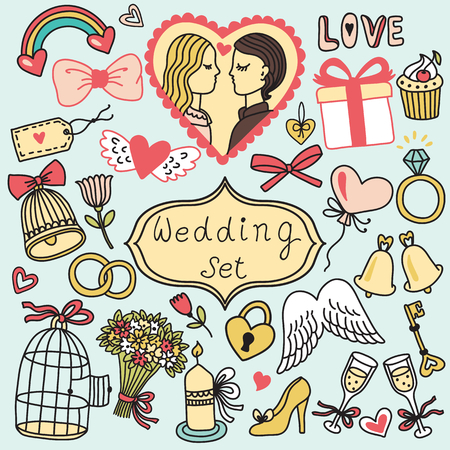 cartoon bouquet: Romantic vector set in cartoon style. Wedding collection Illustration