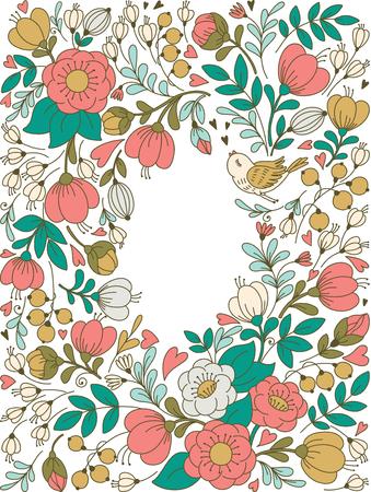 ector floralen Rahmen und Platz für Ihren Text