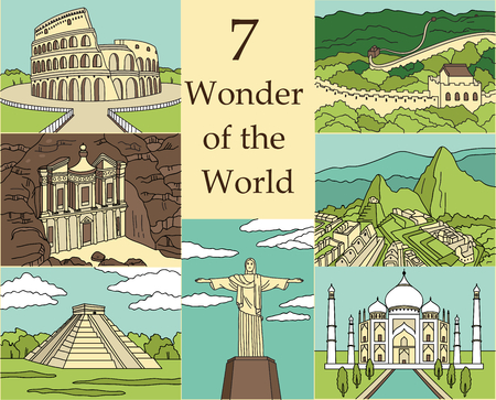 7 Wonders of the World: Colosseum, Great Wall, Machu Picchu, Petra, Taj Mahal, Cristo Redentor, El Castillo. Vector illustration