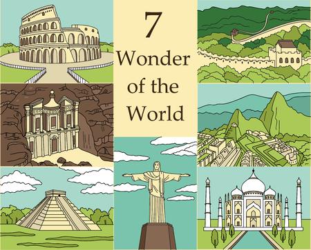 7 Wonders of the World: Koloseum, Wielki Mur, Machu Picchu, Petra, Taj Mahal, Cristo Redentor, El Castillo. ilustracji wektorowych Ilustracje wektorowe