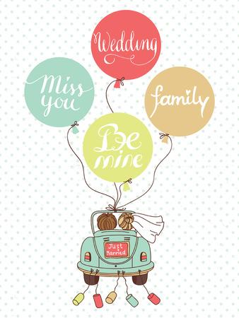 Ilustración del vector de la boda con el coche, los recién casados ??y los globos se puede utilizar para la decoración