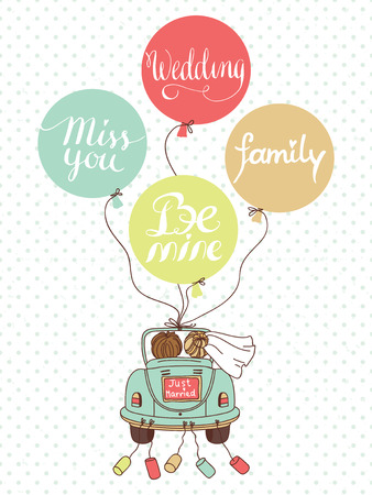 Vector wedding illustration with car, newlyweds and balloons Can be used for wedding decoration